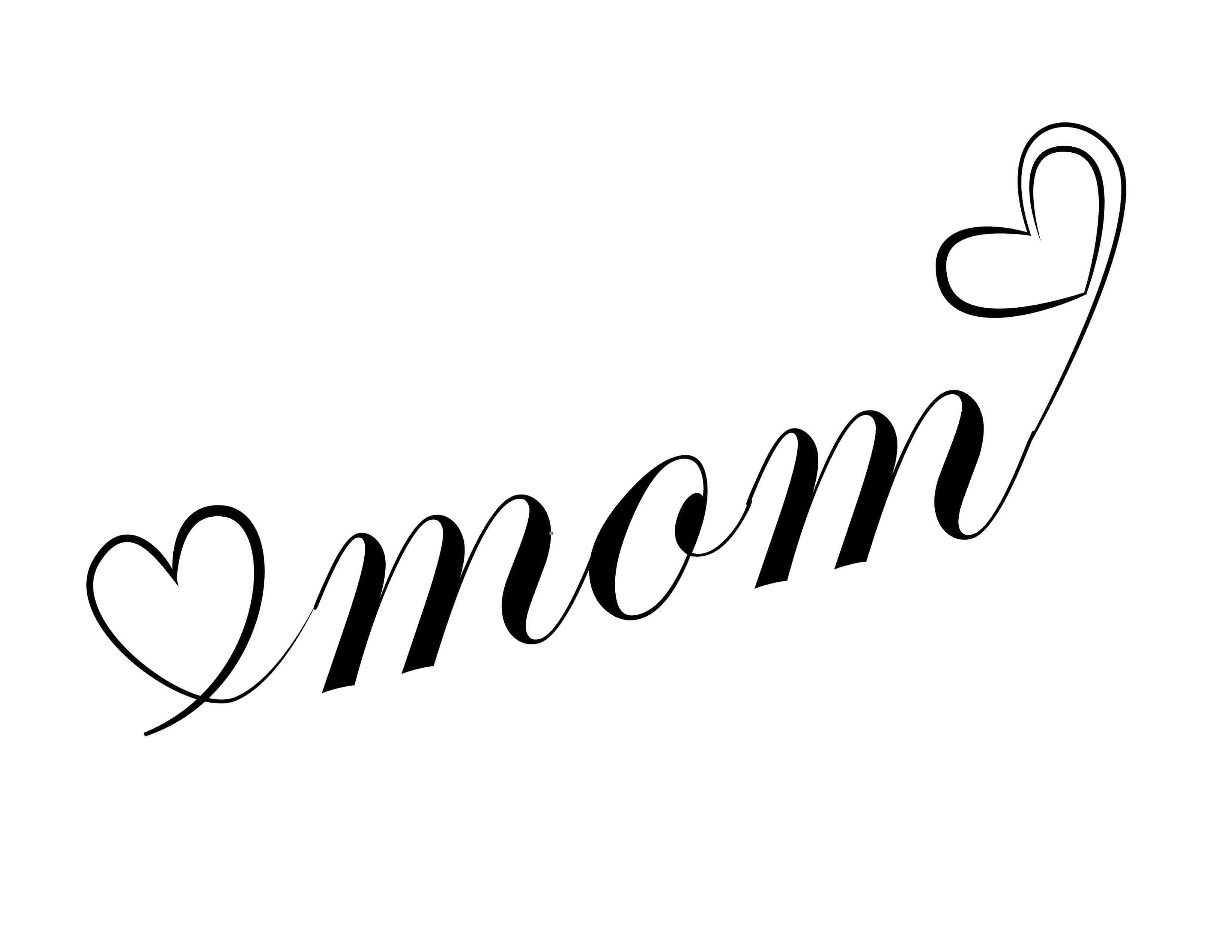 You could use this printable, with its double hearts, to create a Mother's Day or happy birthday, Mom calligraphy free printable card.