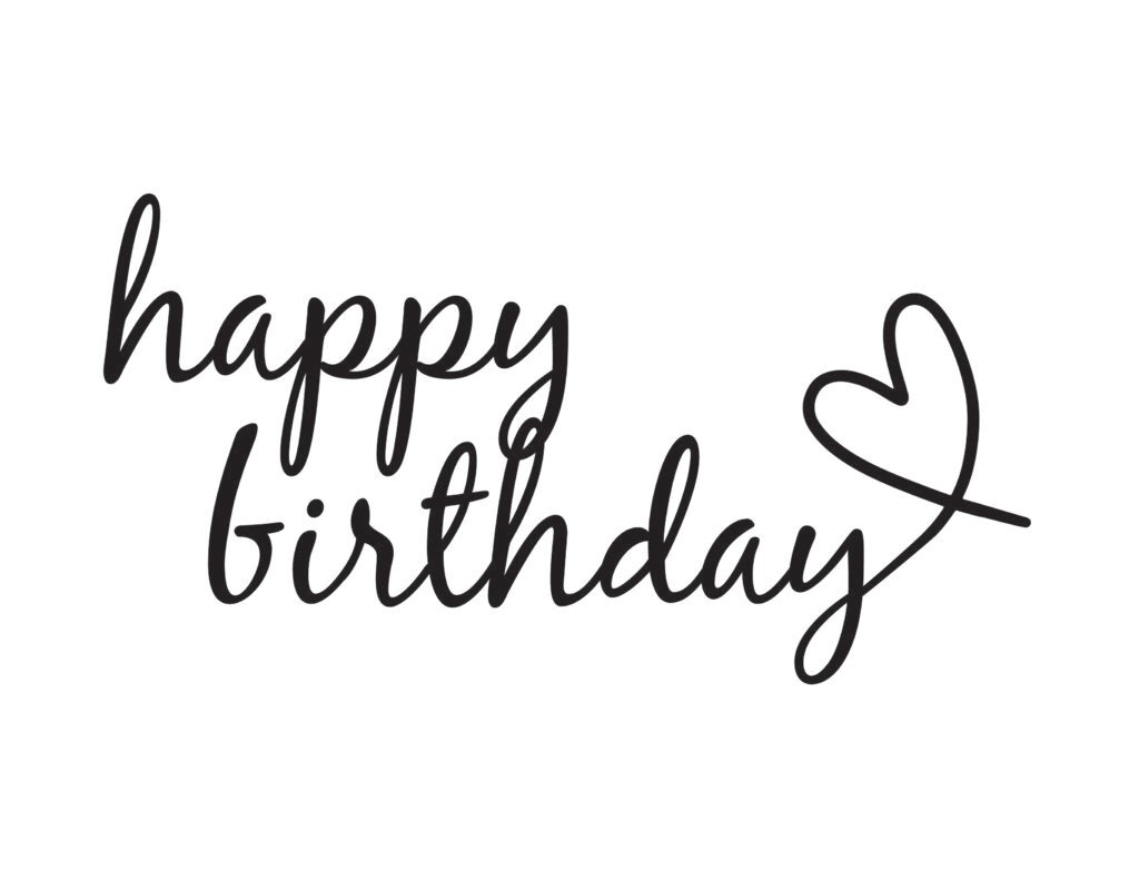 """This version of happy birthday written in calligraphy free printable ends with the """"y"""" forming a cute heart."""