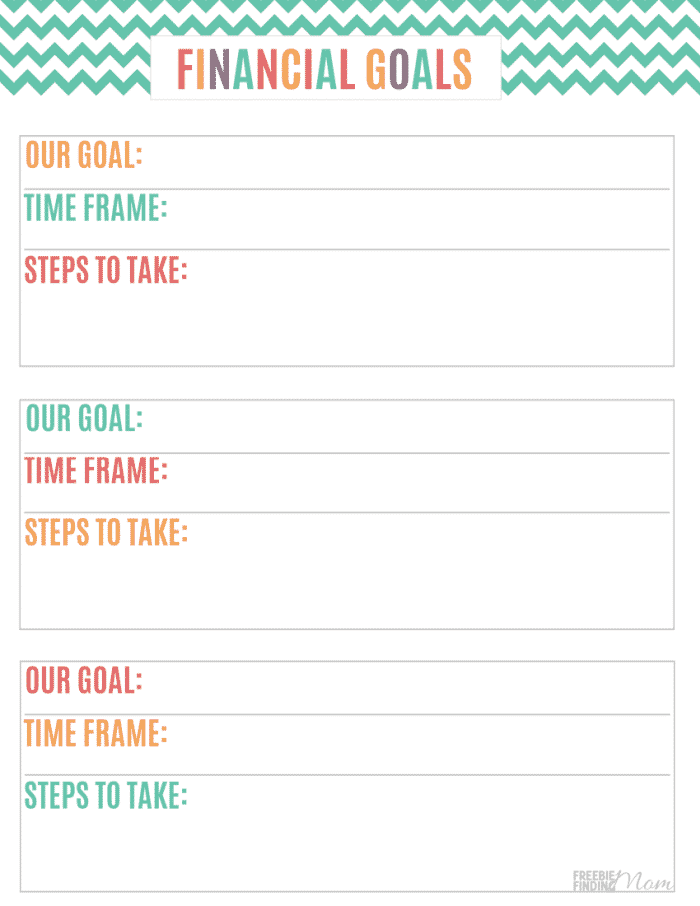 The first of the how to make a budget binder steps is to establish your goals. This bright and cheery financial goals page is a fun way to record them.