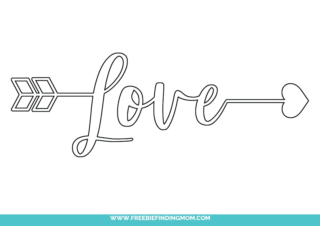 Want to learn how to write love in cursive? Free printables like this make it fun. It features arrow and heart making it perfect for a Valentine's Day card or just to tell someone how you feel about them!
