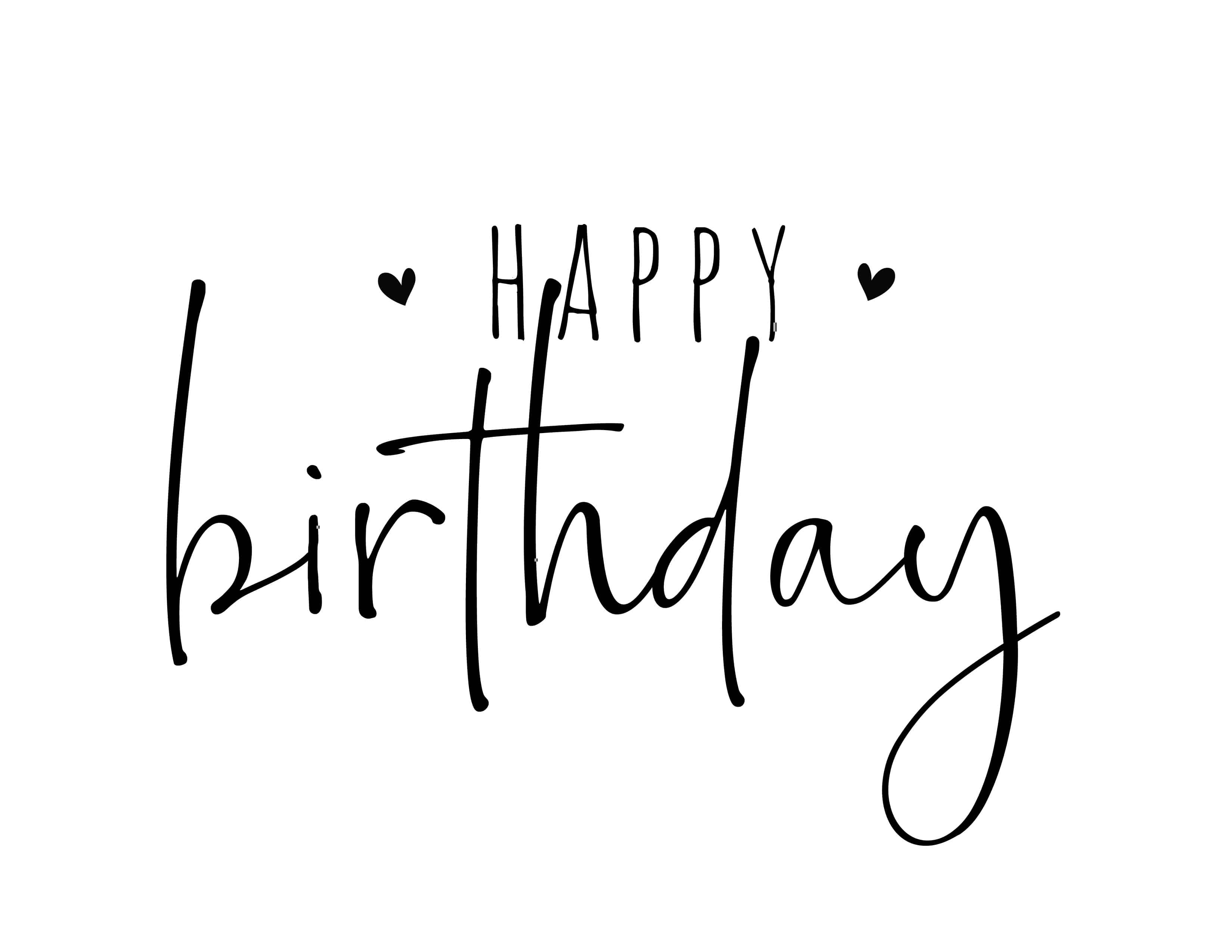 This modern happy birthday calligraphy free printable is a bit more chic and casual and also features sweet hearts.