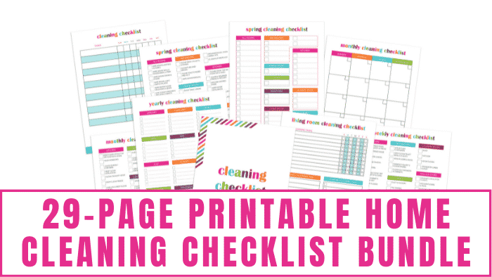 This 29-page printable home cleaning checklist bundle has daily, weekly, and monthly cleaning checklists in addition to seasonal and yearly cleaning schedules.