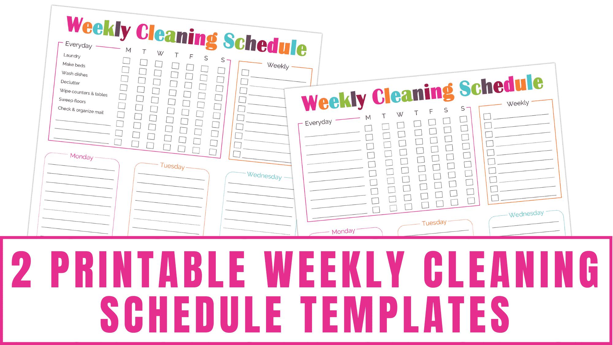 20 Printable Weekly Cleaning Schedule Templates   Freebie Finding Mom