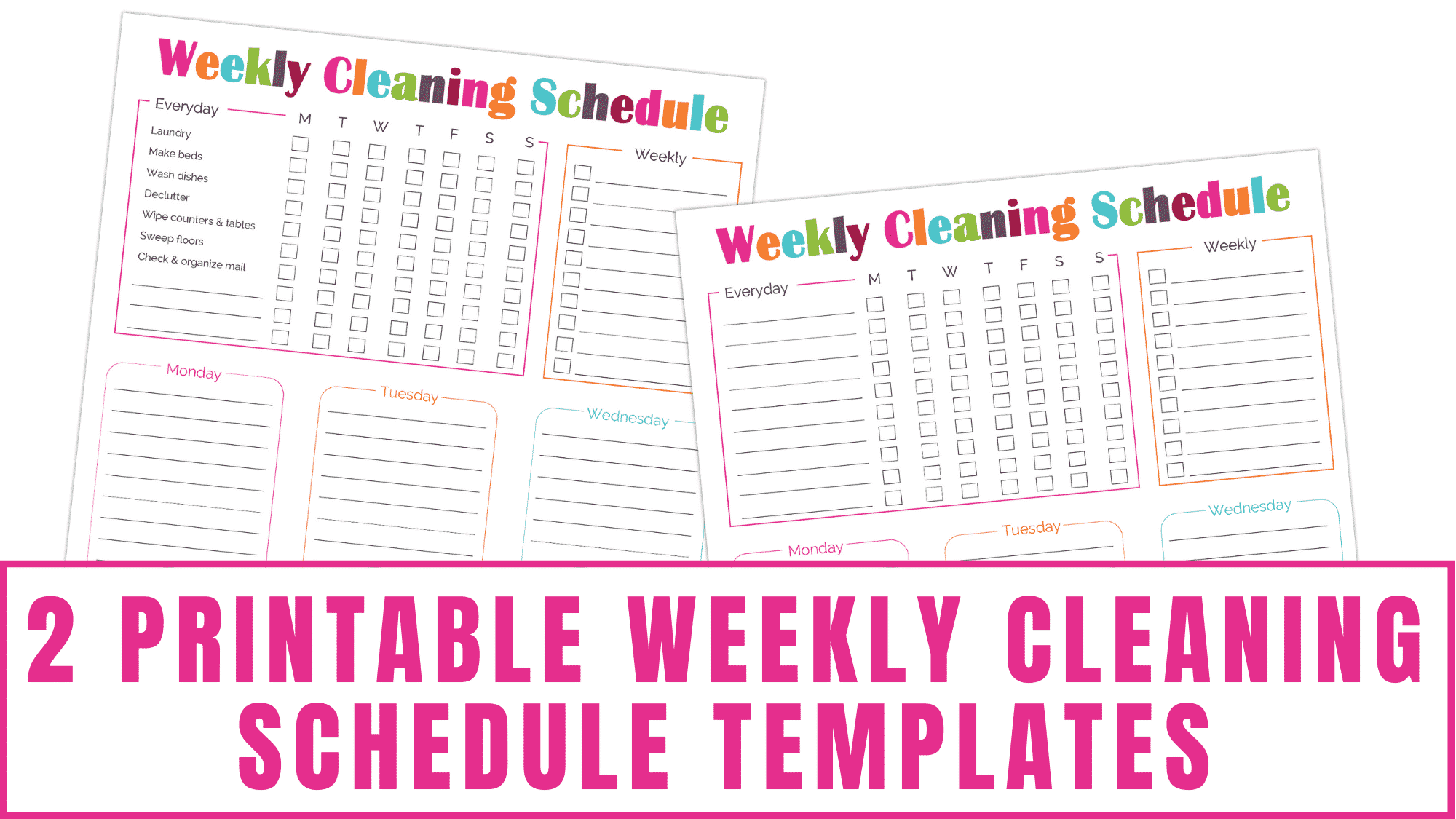 These printable weekly cleaning schedule templates can be paired with the daily cleaning schedule printables to help you hold yourself accountable with your housework.