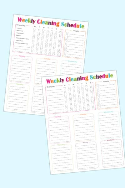 printable weekly cleaning schedule templates