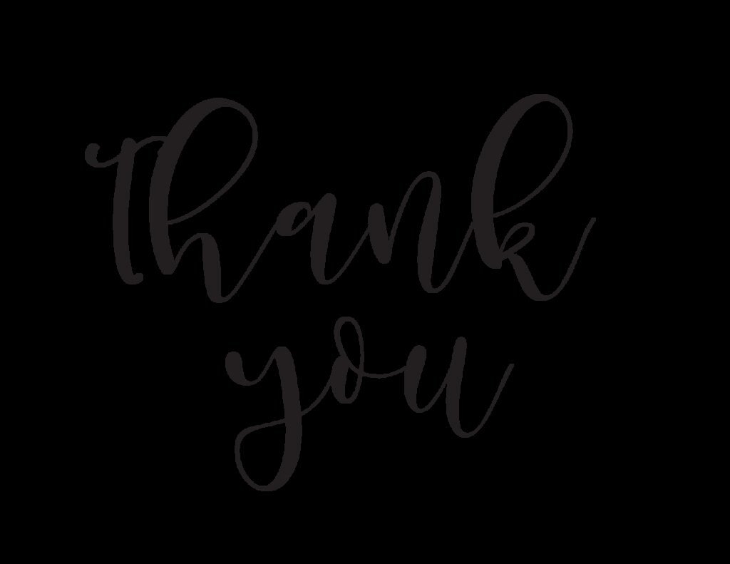 If you're looking for a thank you calligraphy card free printable, look no further than this simple but no less sweet option!