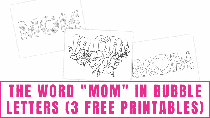 The word mom in bubble letters free printables can be fun coloring pages for kids or used in Mother's Day crafts.