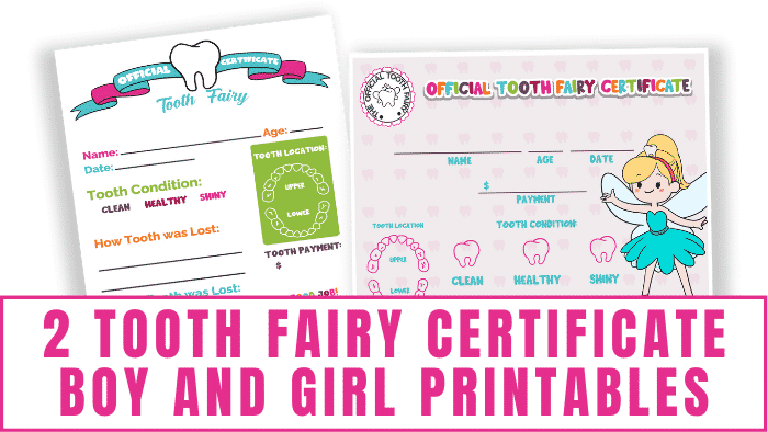 These tooth fairy certificate boy girl printables allow the tooth fairy to record information about your kid's tooth like the condition and location of the tooth and will serve as fun keepsakes.