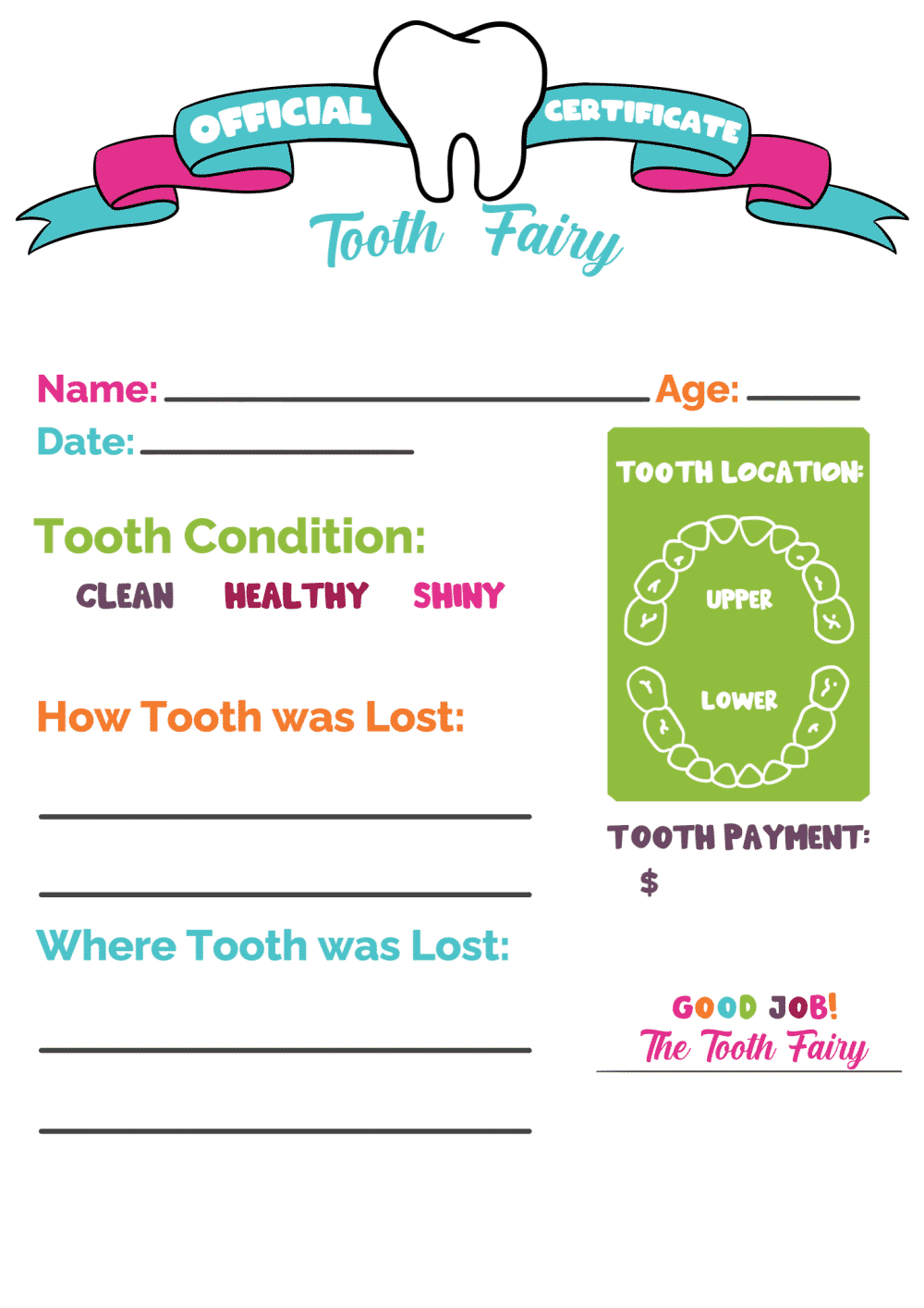 21 Tooth Fairy Certificate Boy and Girl Printables - Freebie Throughout Free Tooth Fairy Certificate Template
