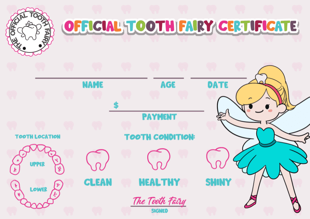 With a pink background this may be more of a Tooth Fairy certificate girl printable option but you can also use it for boys! All kids would enjoy receiving a special certificate with their name, age, and tooth details from the Tooth Fairy.
