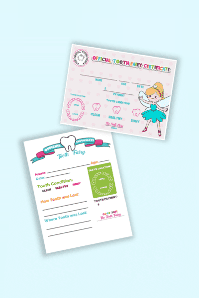 tooth fairy certificate boy girl printables