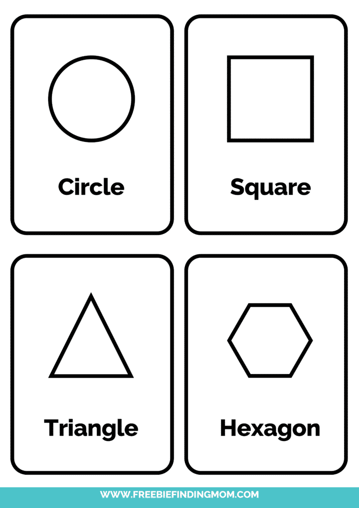 2D black and white shapes flashcards printable pdf 1