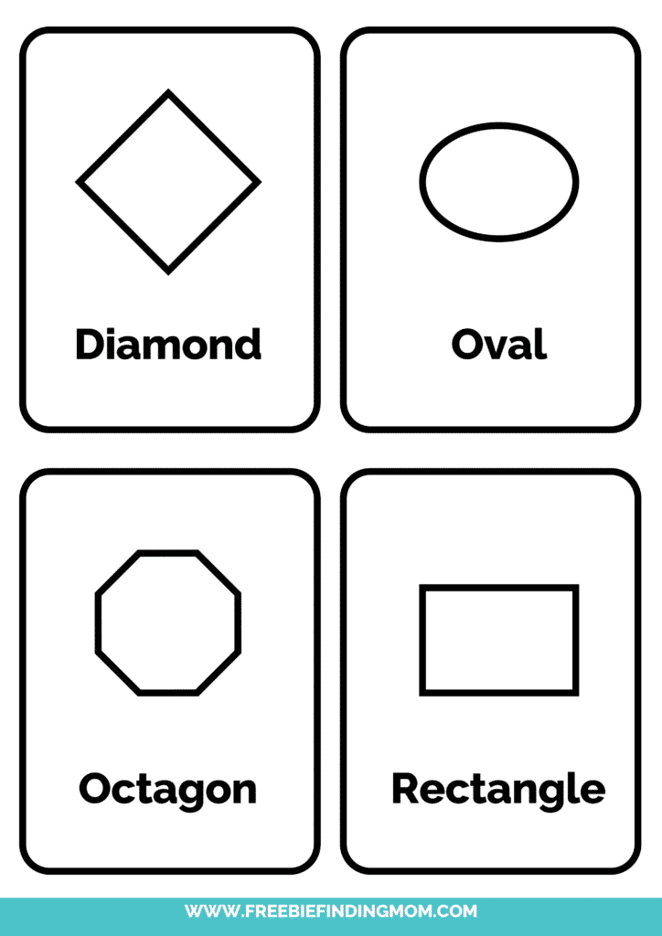 2D black and white shapes flashcards printable pdf 2