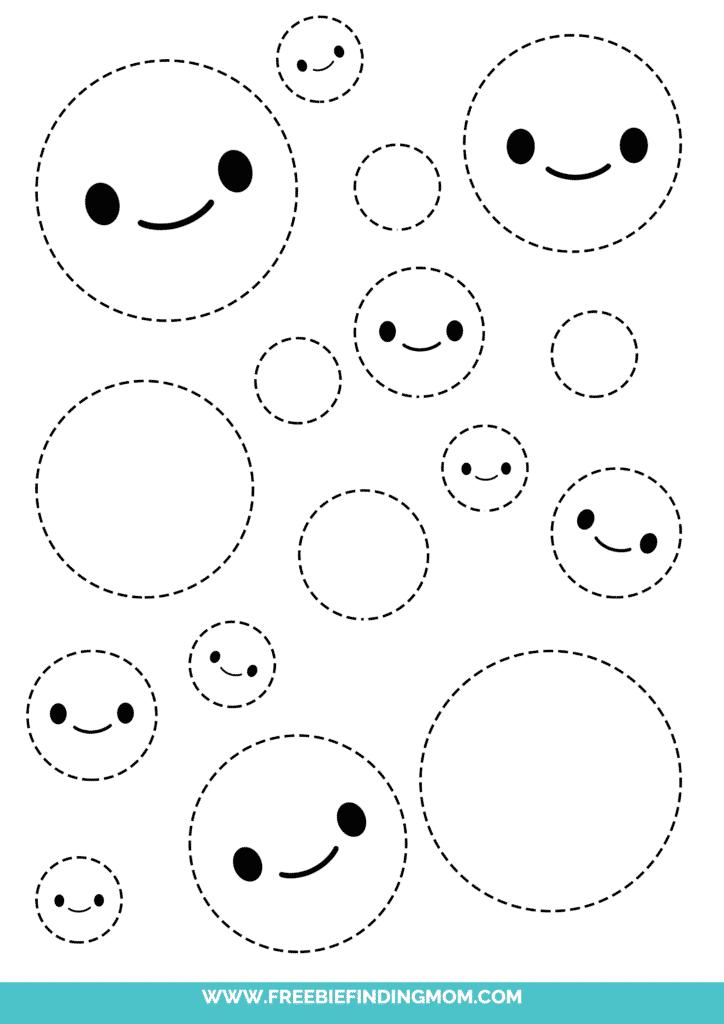 circle printable tracing shapes preschool worksheets pdf