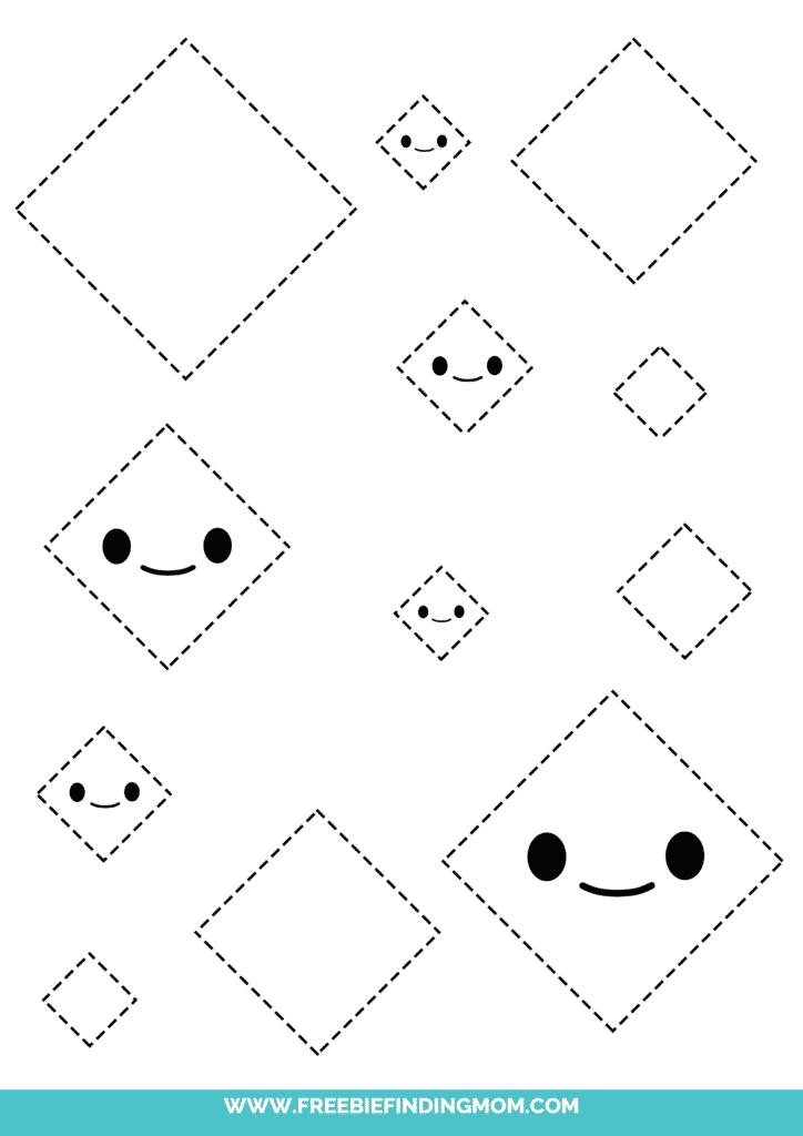 diamond printable tracing shapes preschool worksheets pdf