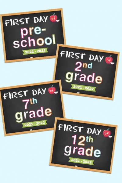 first day of school chalkboard sign printable 2021-2022