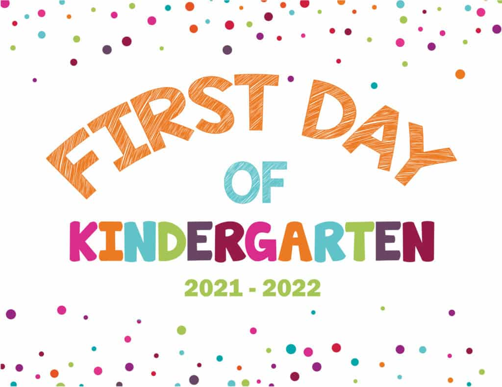 If you're looking for a less cutesy my first day of school sign try this dots template.
