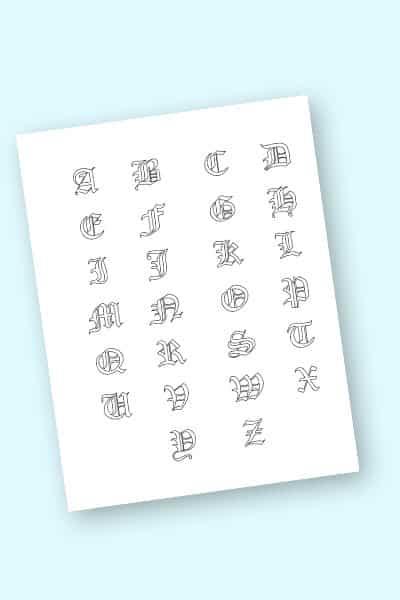 free printable gothic calligraphy alphabet