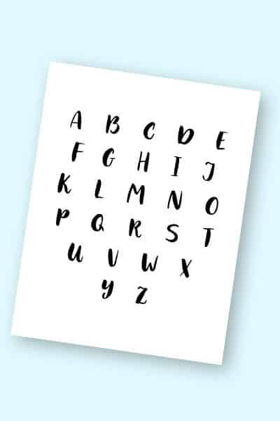 free printable modern calligraphy alphabet