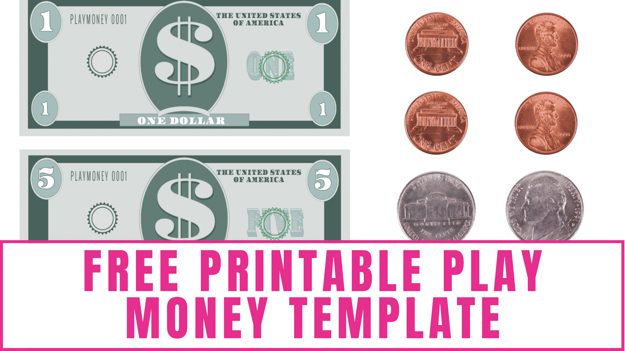 Teach kids about money management and budgeting with this free printable play money template.