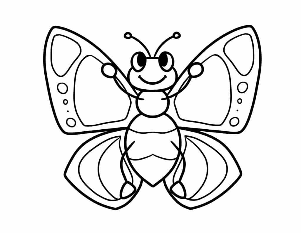 Express your creativity with this free printable simple butterfly coloring page for adults and kids that allows you to use any crayon in the box!