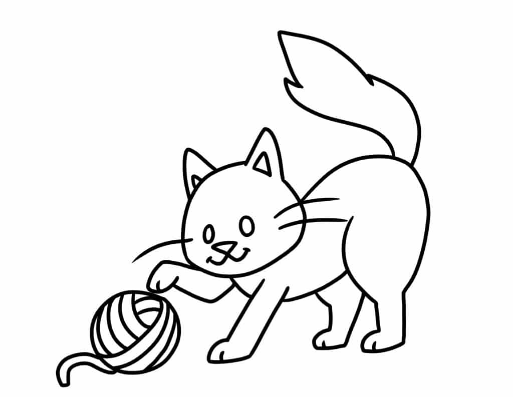 There's nothing too intricate about these free printable simple coloring pages for adults and kids featuring a cute cat playing with a yarn ball.