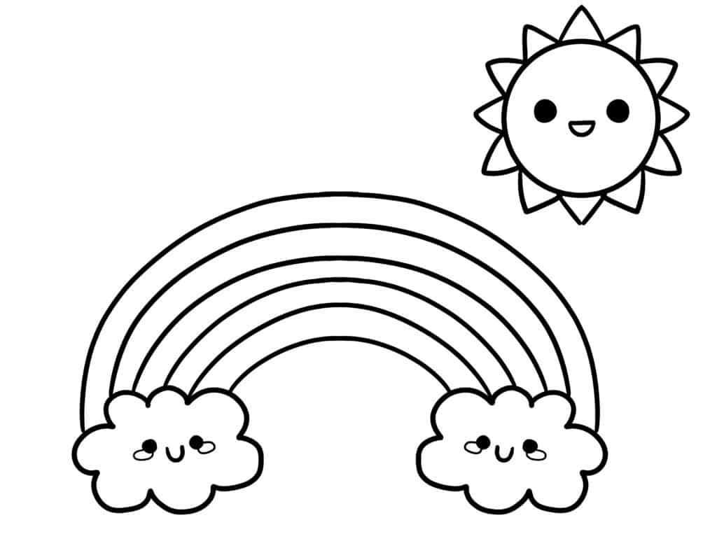 Brighten your day, literally, with these rainbow and sun free printable simple coloring pages for kids and adults.