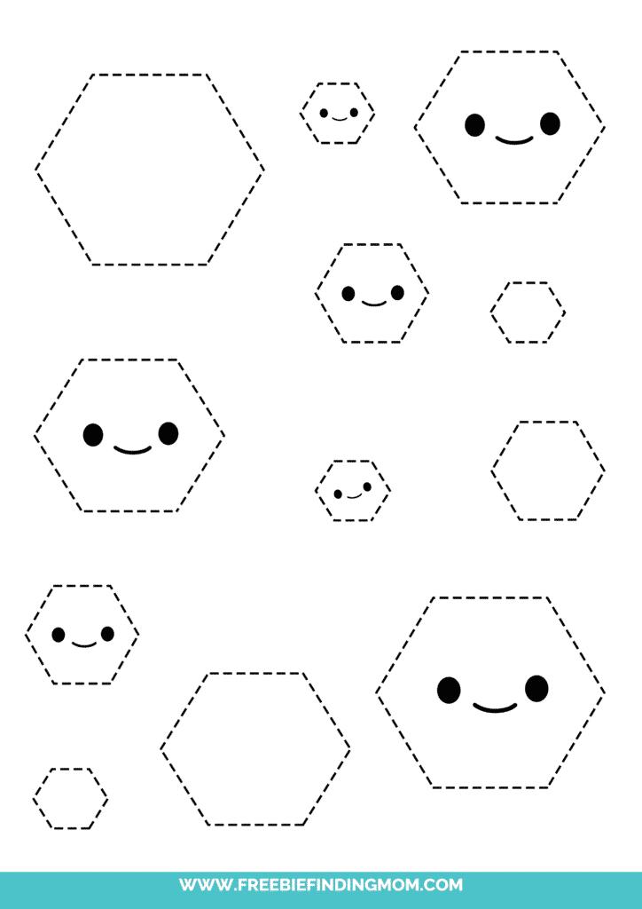 hexagon printable tracing shapes preschool worksheets pdf