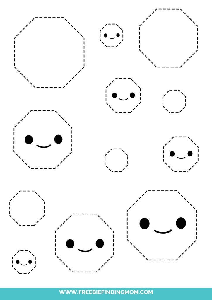 octagon printable tracing shapes preschool worksheets pdf