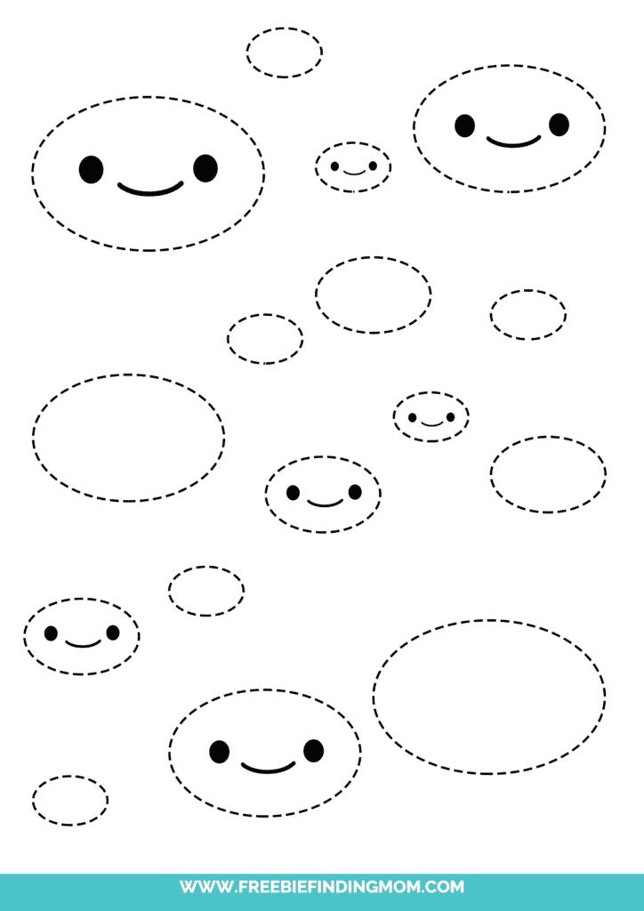 oval printable tracing shapes preschool worksheets pdf