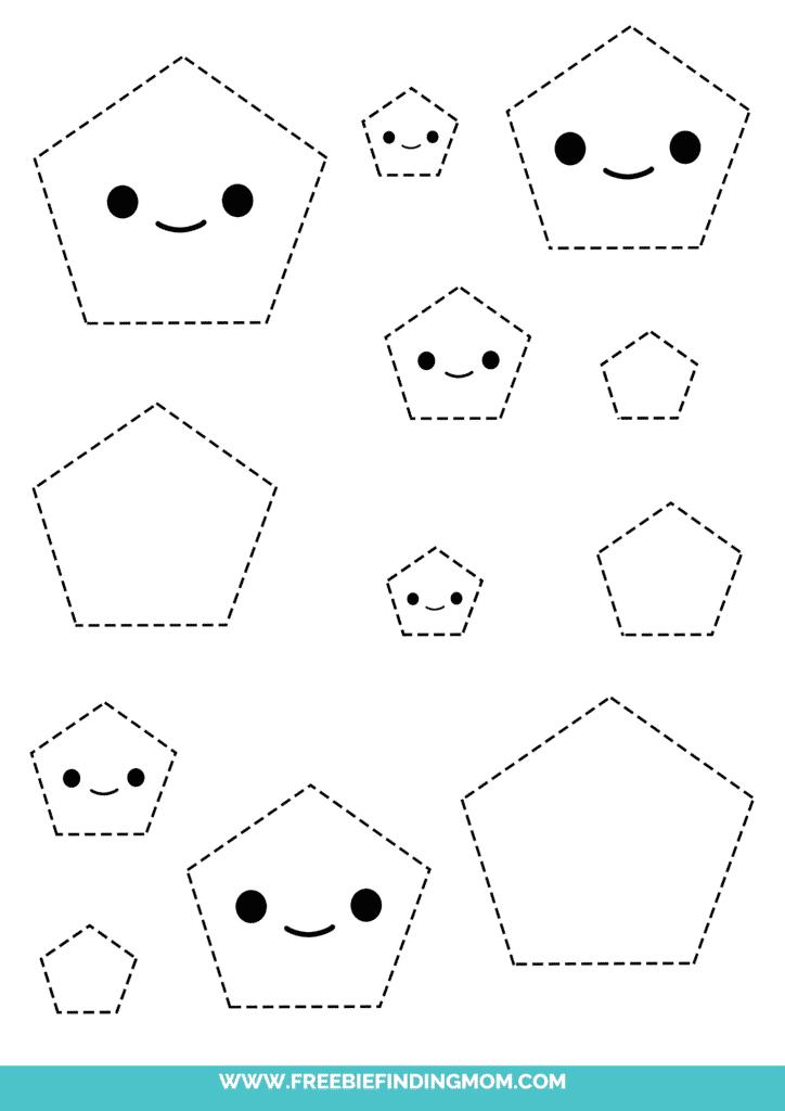 pentagon printable tracing shapes preschool worksheets pdf