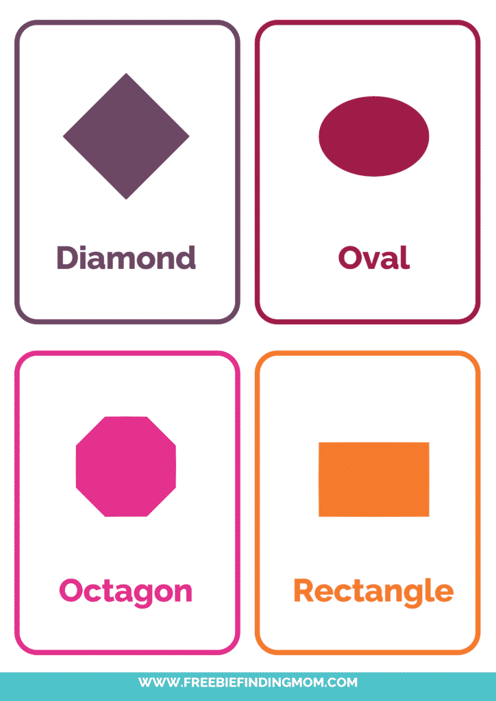 printable 2D shapes flashcards PDF downloads 2