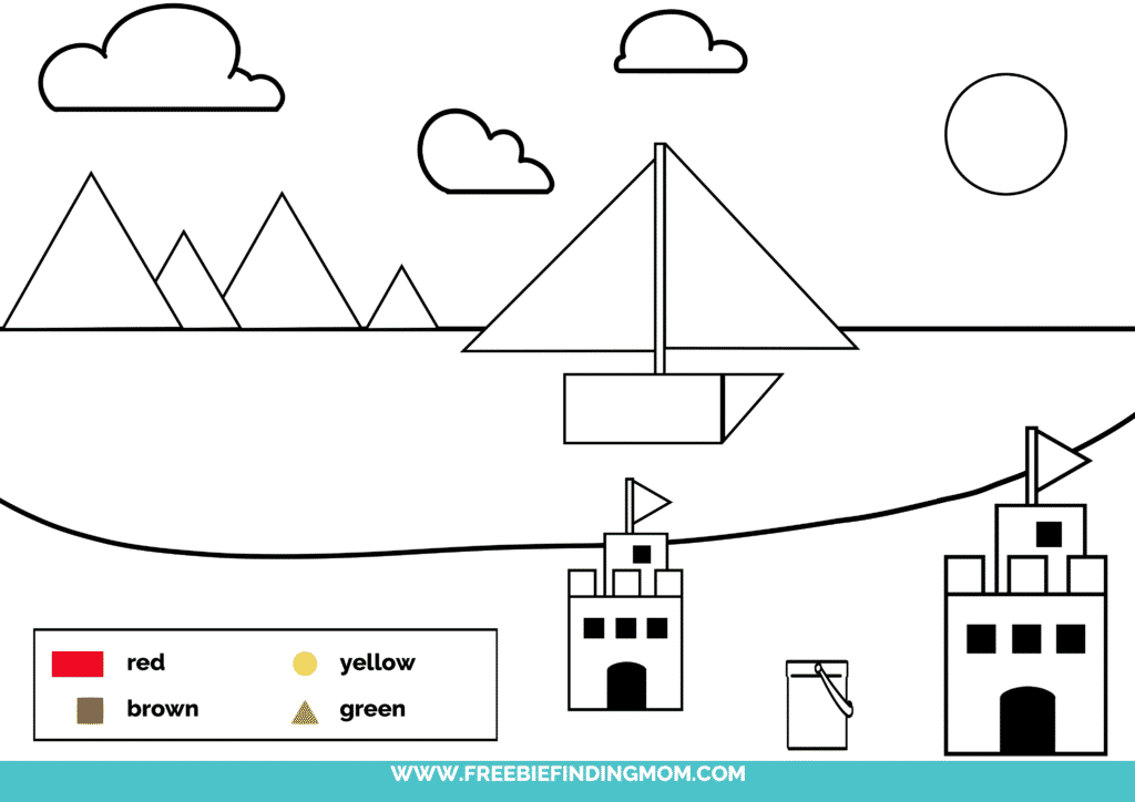 printable color shapes worksheet pdf beach