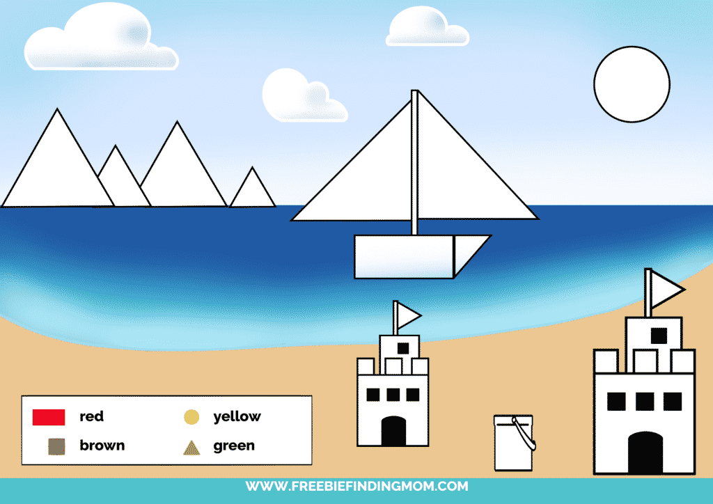 printable color shapes worksheet pdf beach color