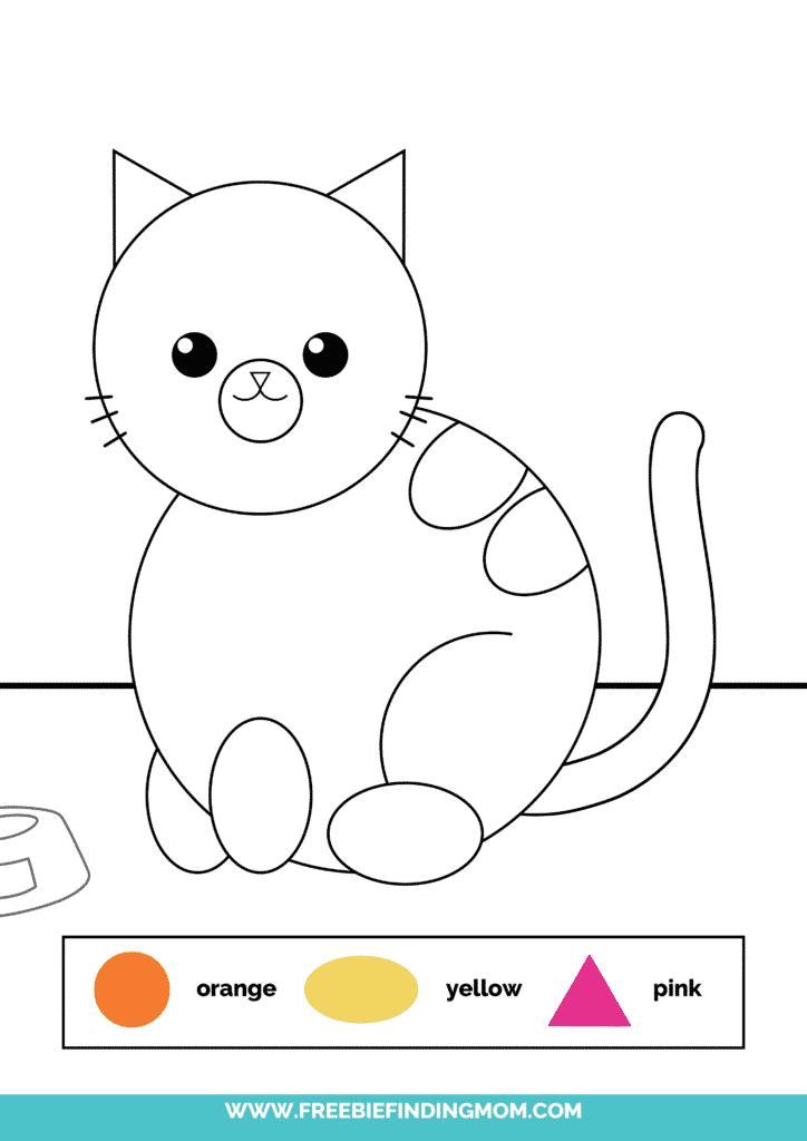 printable color shapes worksheet pdf cat