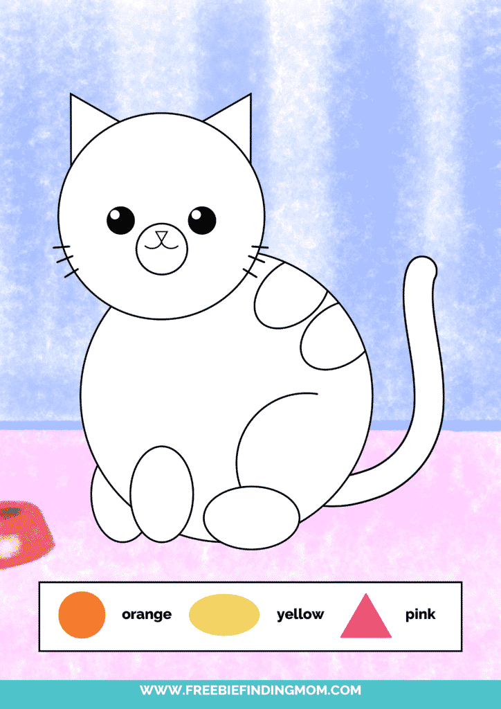 printable color shapes worksheet pdf cat color