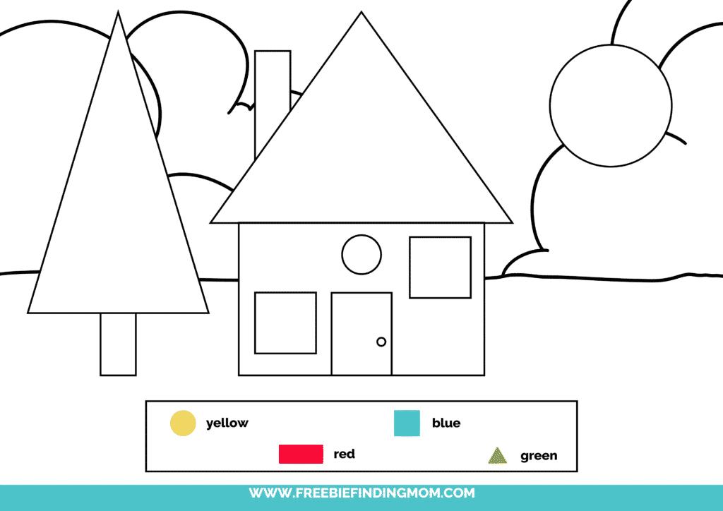 printable color shapes worksheet pdf house