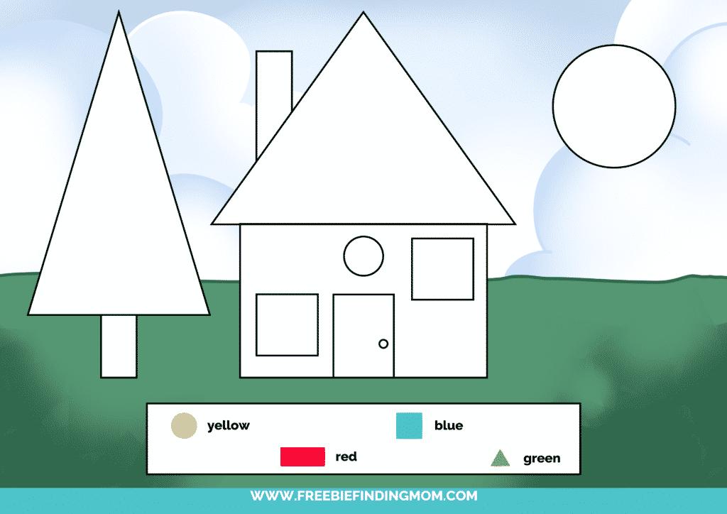 printable color shapes worksheet pdf house color