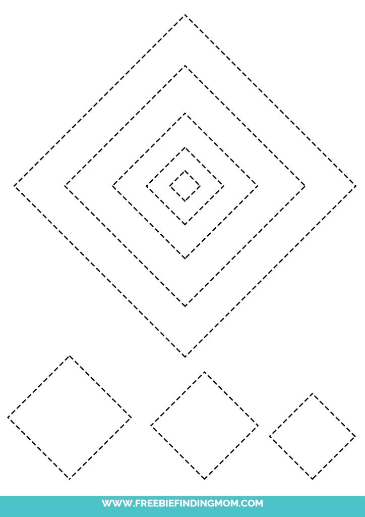 printable diamond shape tracing worksheets