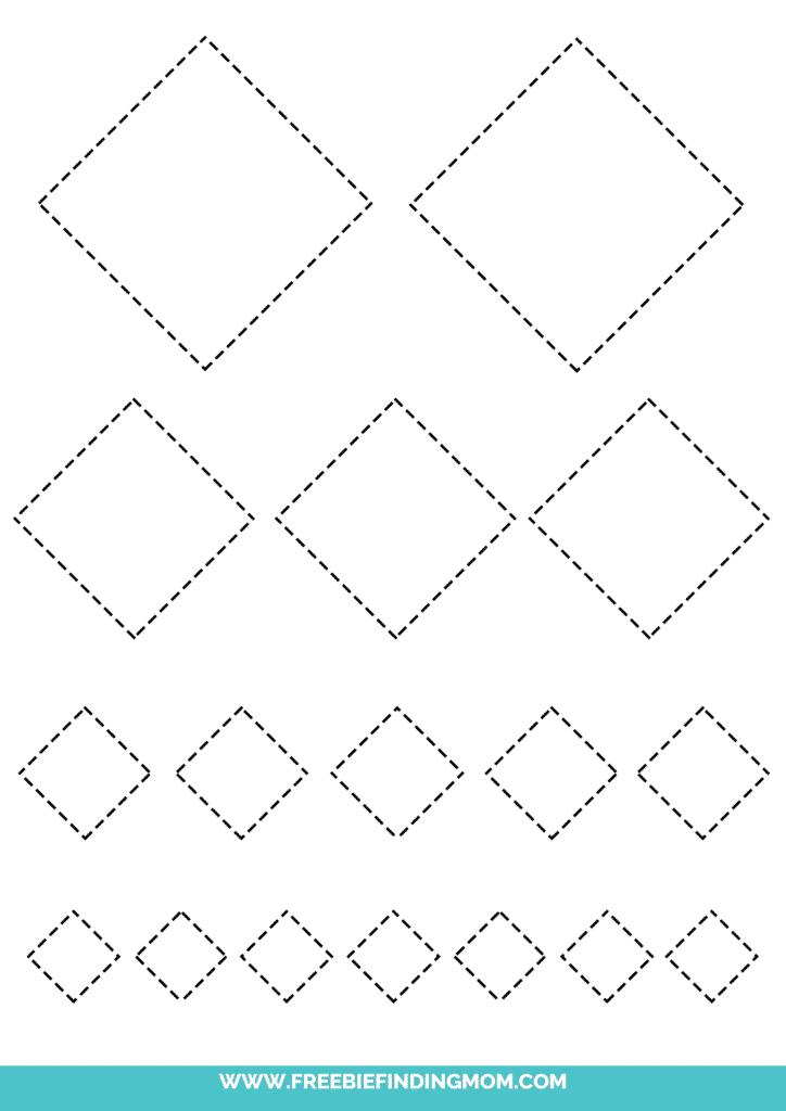 printable diamond tracing worksheets