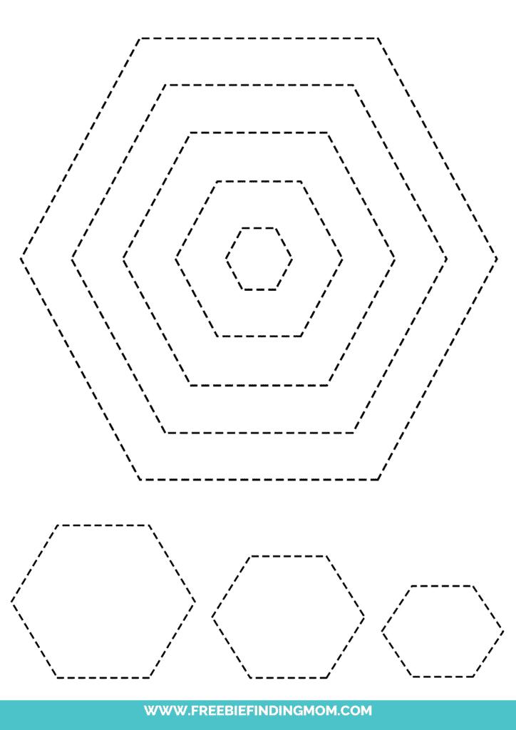 printable hexagon shape tracing worksheets