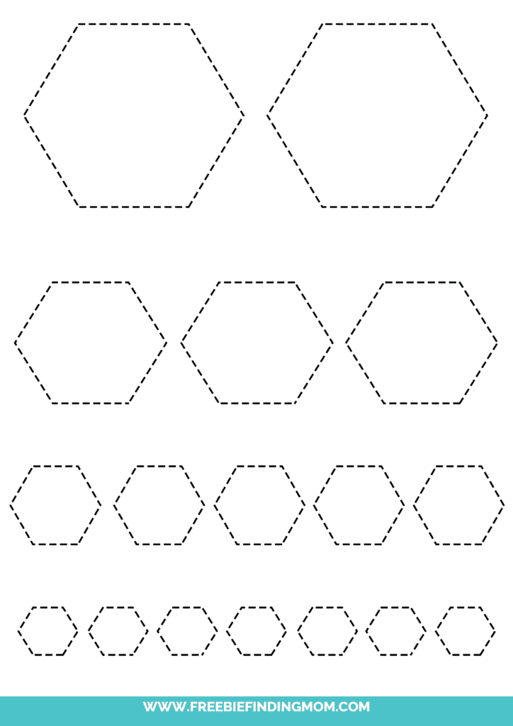 printable hexagon tracing worksheets
