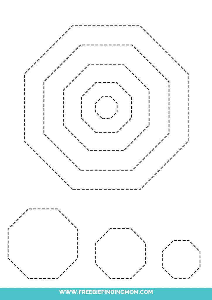 printable octagon shape tracing worksheets