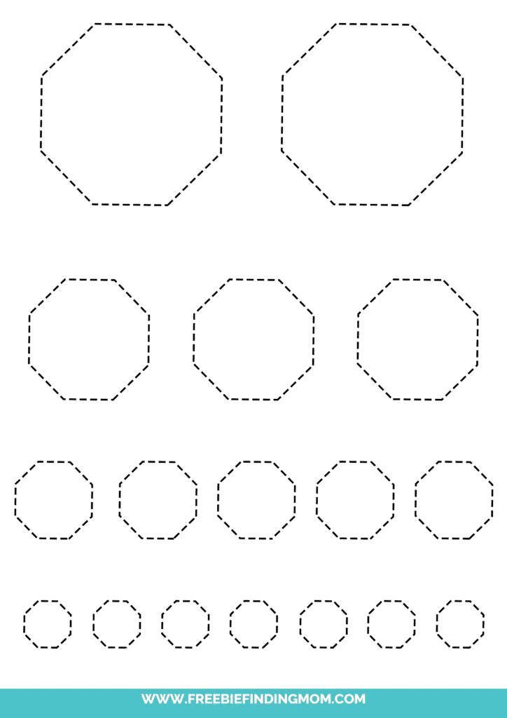 printable octagon tracing worksheets