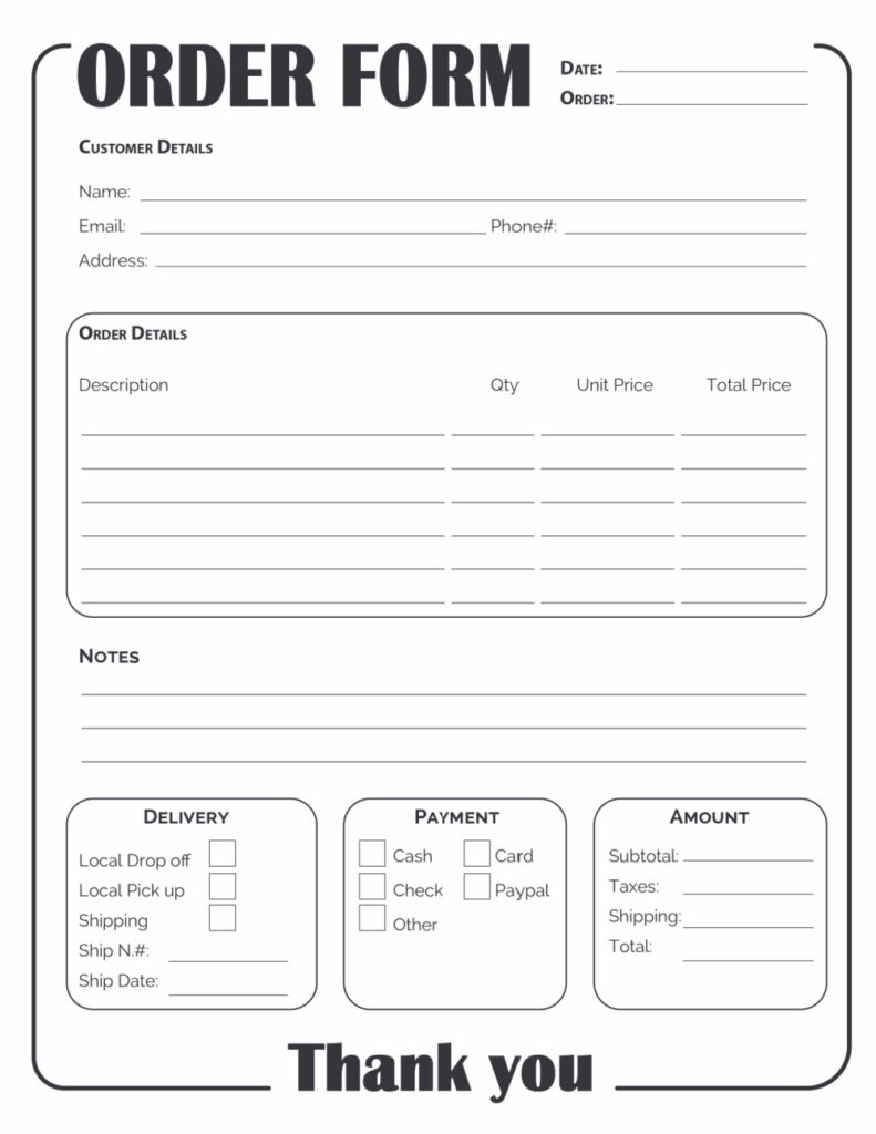 This monotone black printable online order form template free download is all business!
