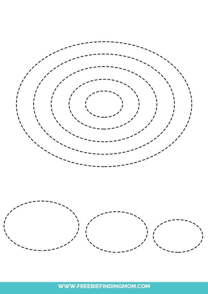 printable oval shape tracing worksheets