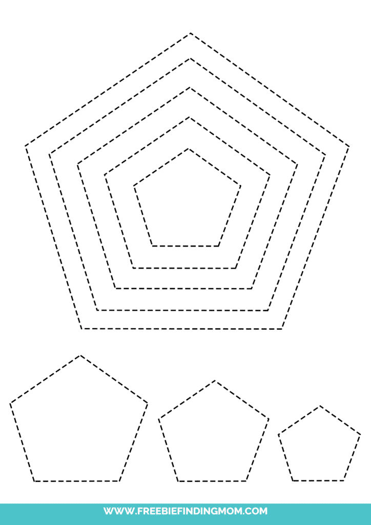 printable pentagon shape tracing worksheets