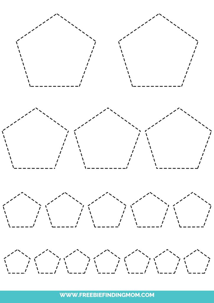 printable pentagon tracing worksheets
