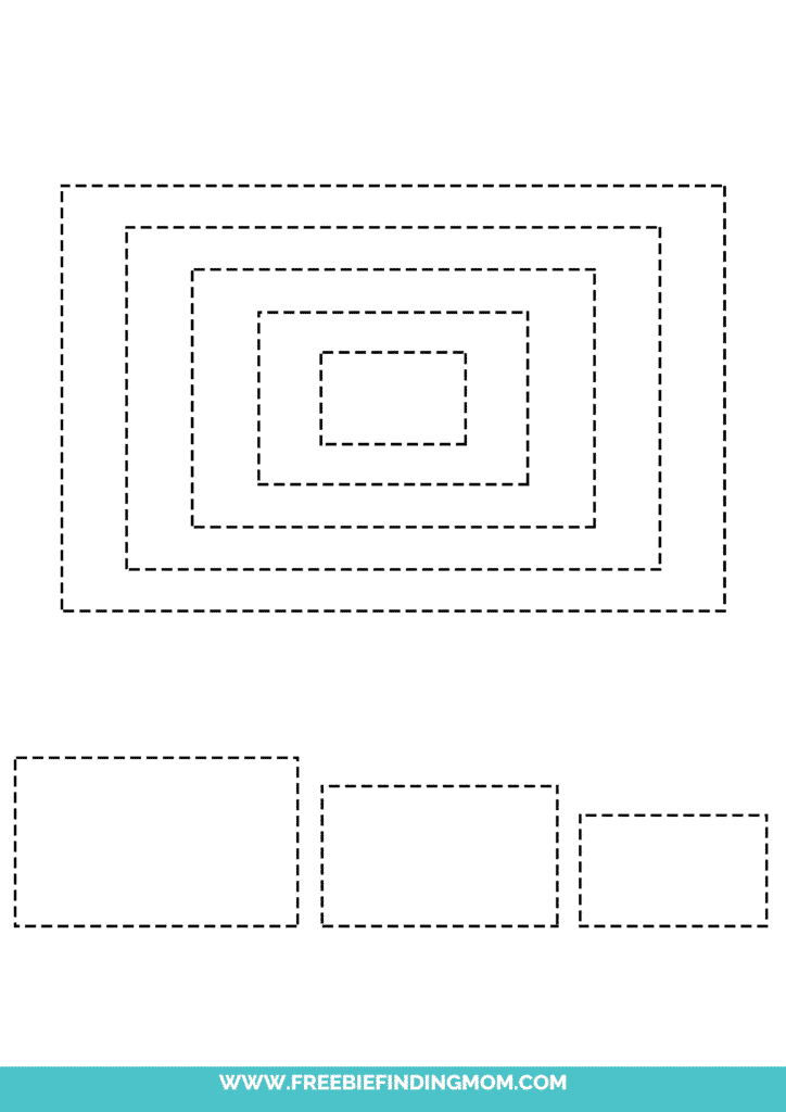 printable rectangle shape tracing worksheets