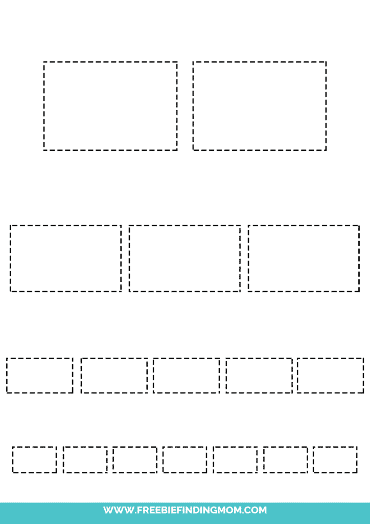 printable rectangle tracing worksheets